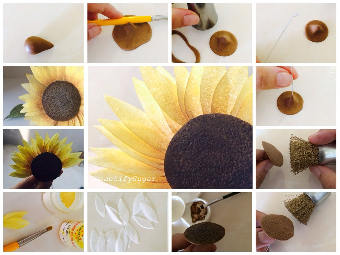 Wafer Paper Sunflower Tutorial Wafer Paper Flowers Wafer Paper