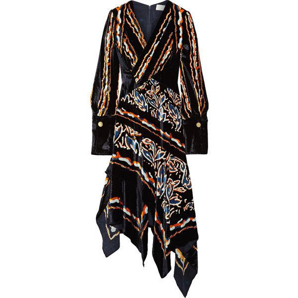 Peter Pilotto Woman Asymmetric Wrap-effect Printed Velvet Dress Dark Purple Size 14 Peter Pilotto Low Shipping 6ucm3F