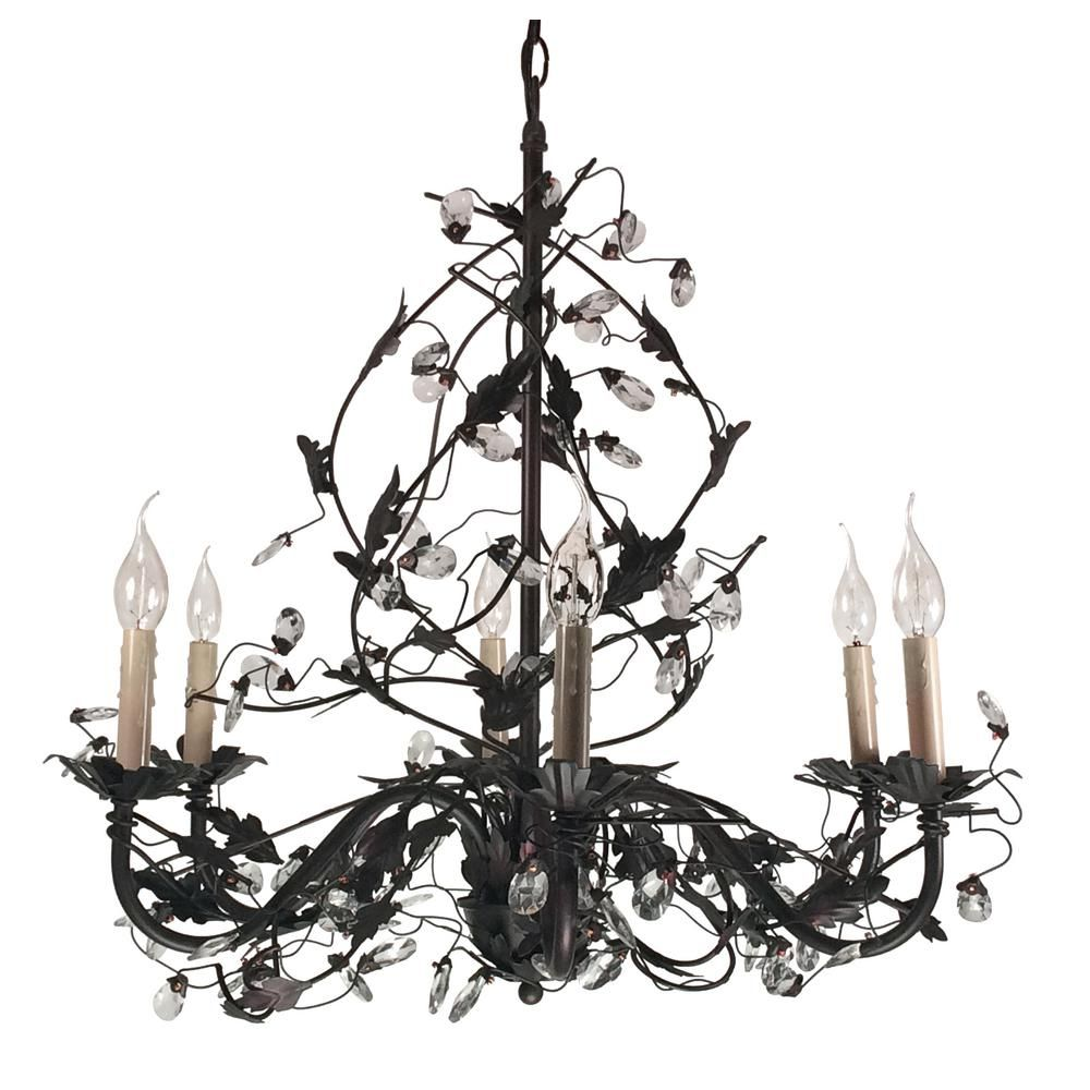 Bel Air Lighting Iron Leaf 6 Light Rubbed Oil Bronze Chandelier With Crystals