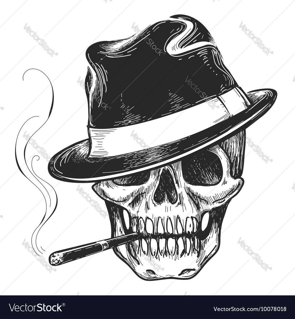 Gangster Skull Tattoo Vector Image On Vectorstock Skull Art Tattoo Skulls Drawing Skull Tattoos