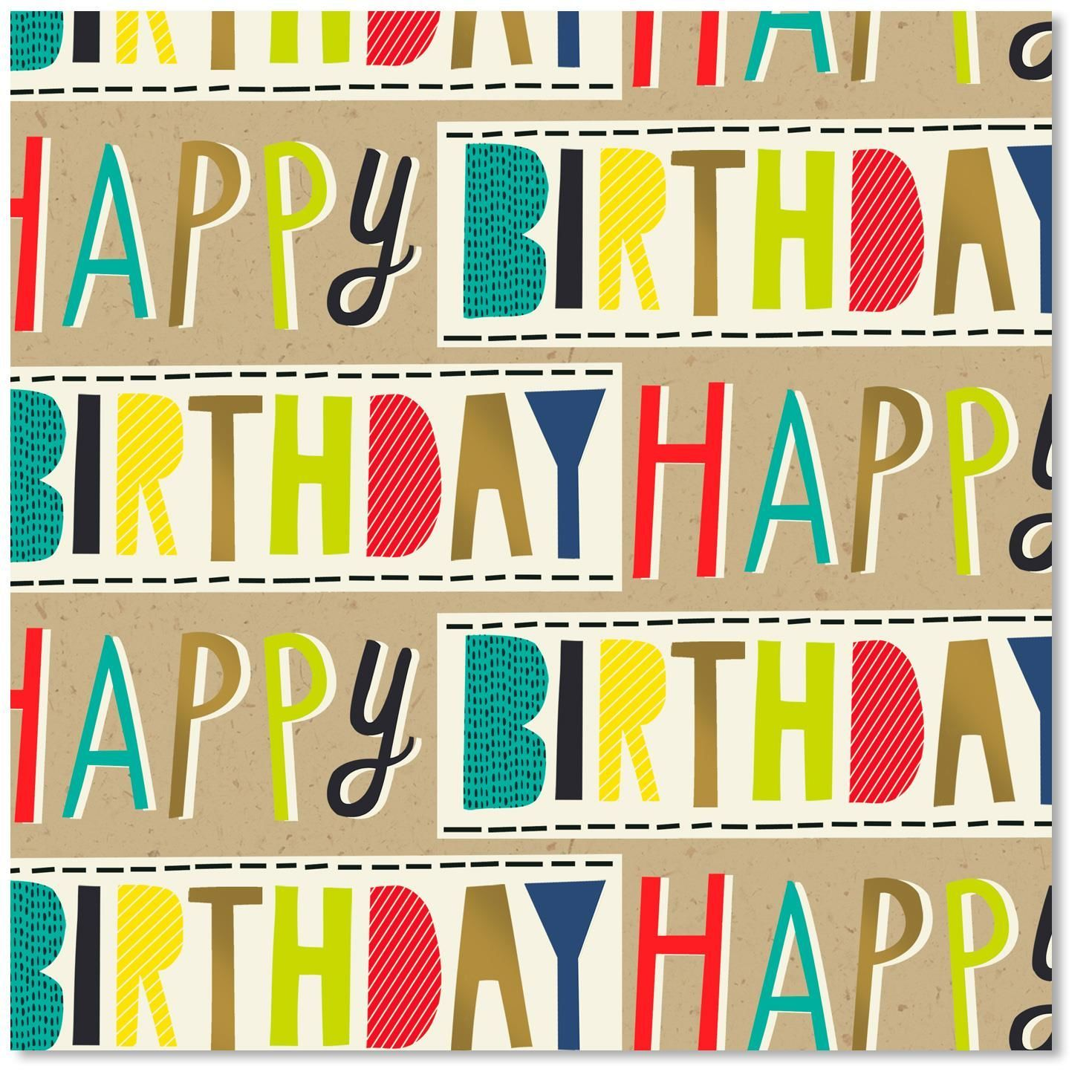 Colorful Block Lettering Happy Birthday Wrapping Paper ...