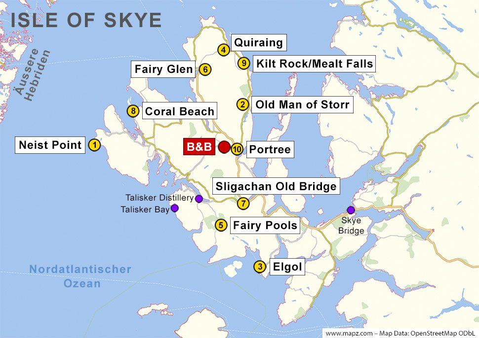 Sehenswürdigkeiten Großbritannien Karte.Karte Der Sehenswürdigkeiten Auf Der Isle Of Skye Travel In 2019