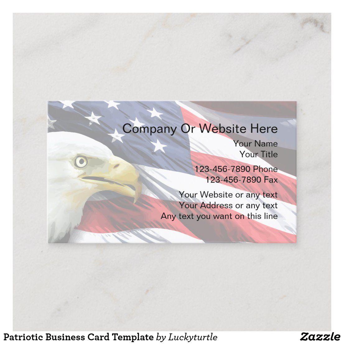 Patriotic Business Card Template Zazzle Com Business Card Template Free Business Card Templates Card Template