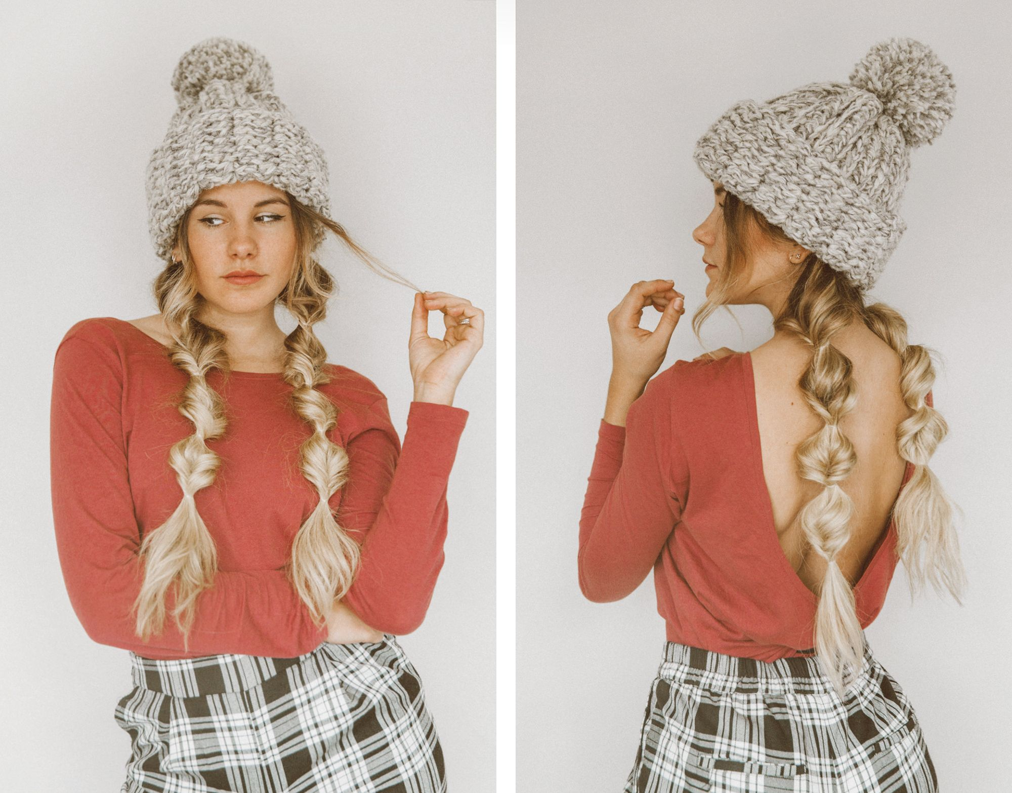 Tutorial Winter Hairstyle With Beanie Winter Hat Hairstyles Winter Hairstyles Hat Hairstyles