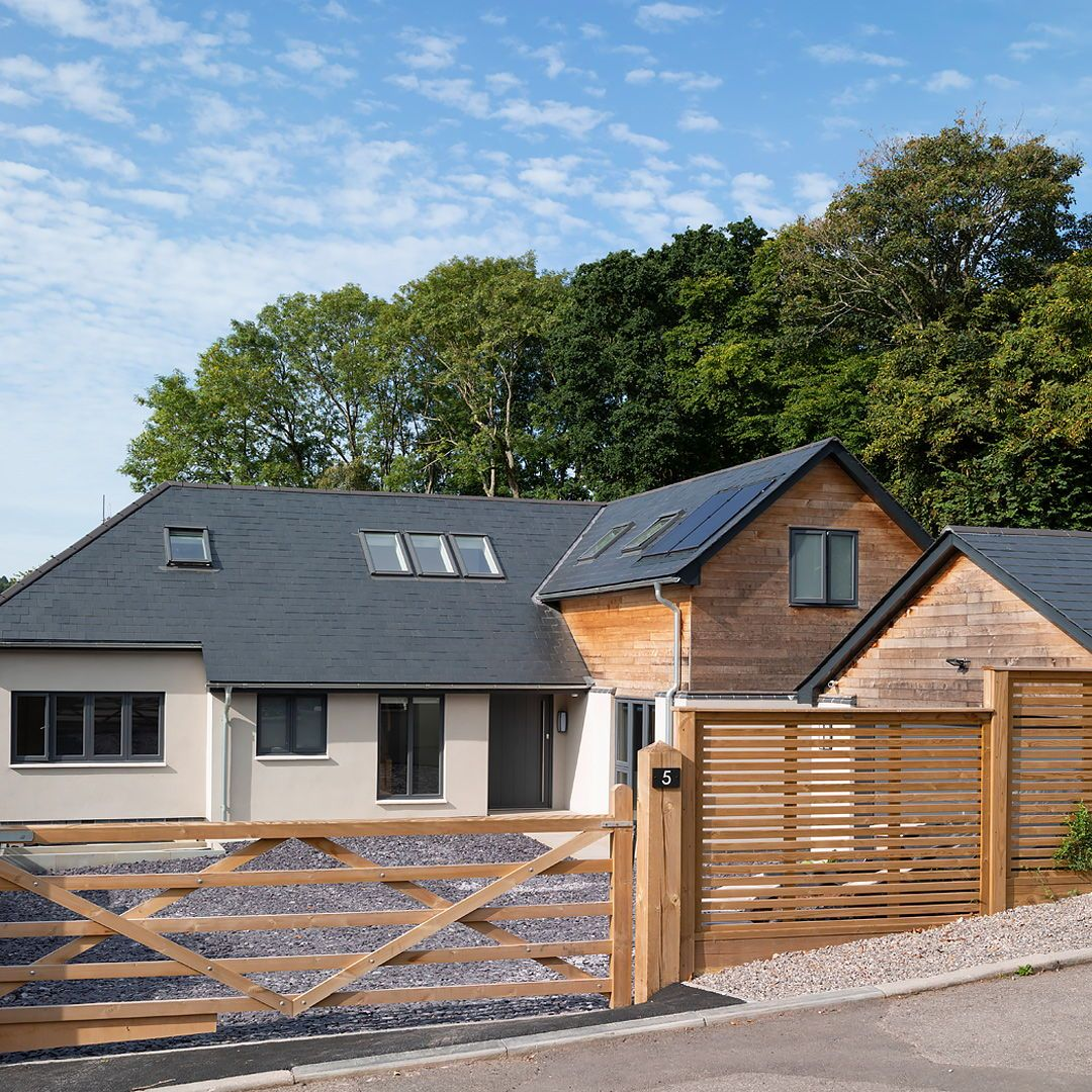 Design Your Own Exterior: Front Exterior With White Render And Timber Cladding