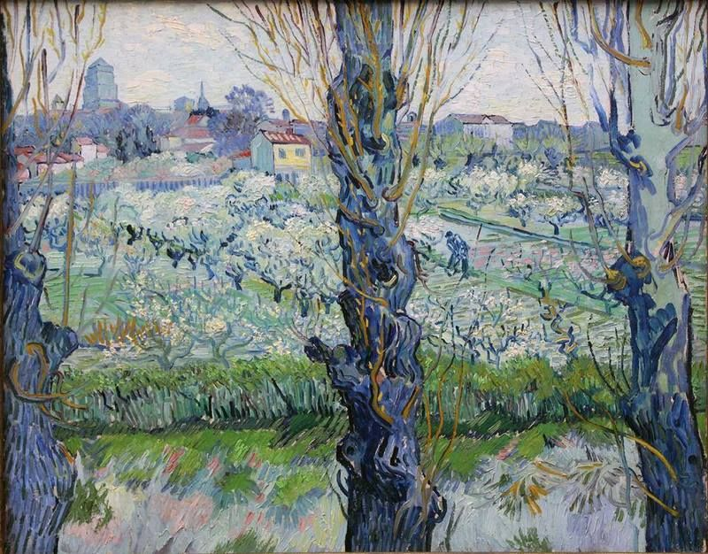 View of Arles, flowering orchards, 1889