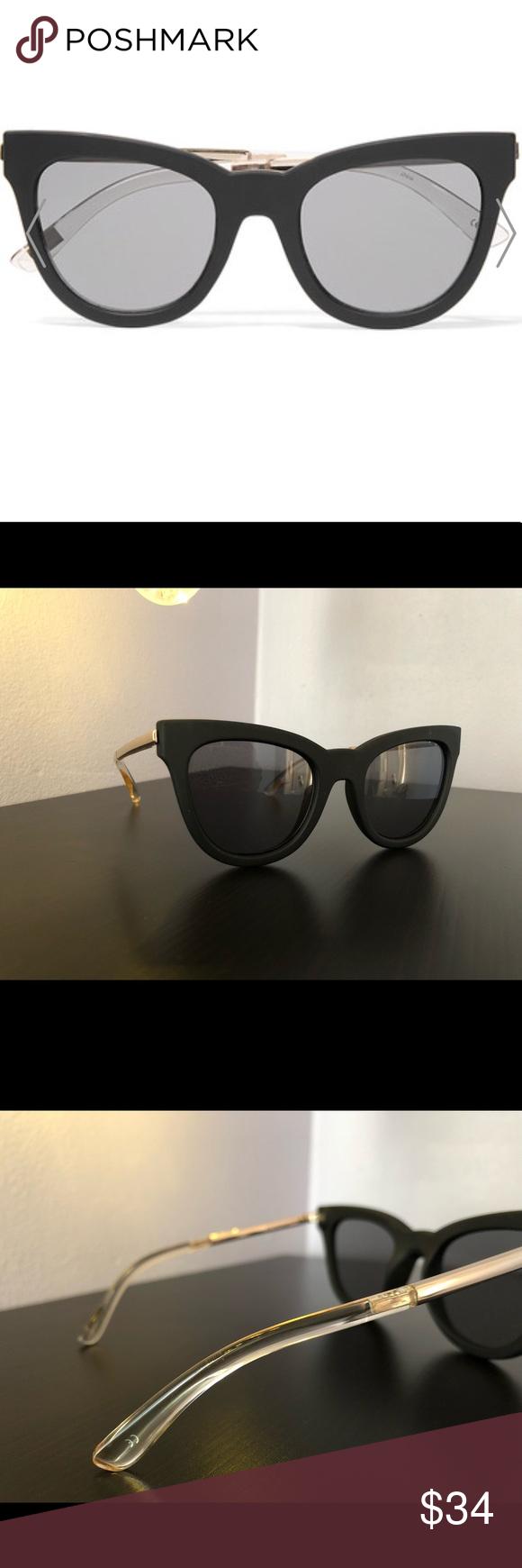 e04d6602bd Le Specs Le Dubutante 1502117 Brand New Le Specs Le Debutante cat-eye rubber  and gold-tone sunglasses Le Specs Accessories Sunglasses