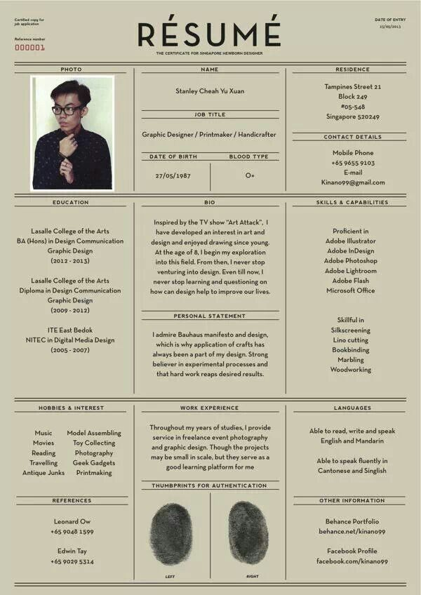 Interesting resume Graphic design Pinterest Unique resume