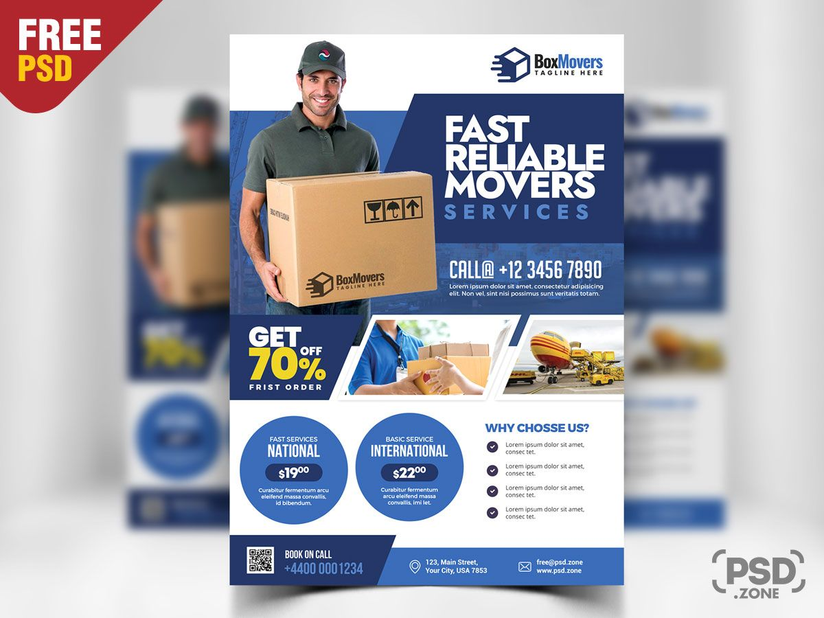 Courier and logistics service flyer psd free psd flyer