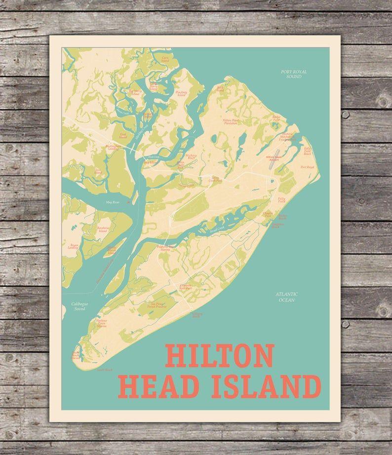 Hilton Head Island South Carolina Wall Art Savannah Etsy Hilton Head Island South Carolina Hilton Head Island Hilton Head Island Map