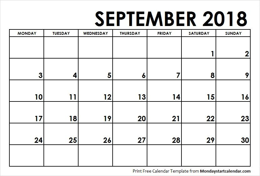 September 2018 Calendar Monday Start Monday Start Pinterest