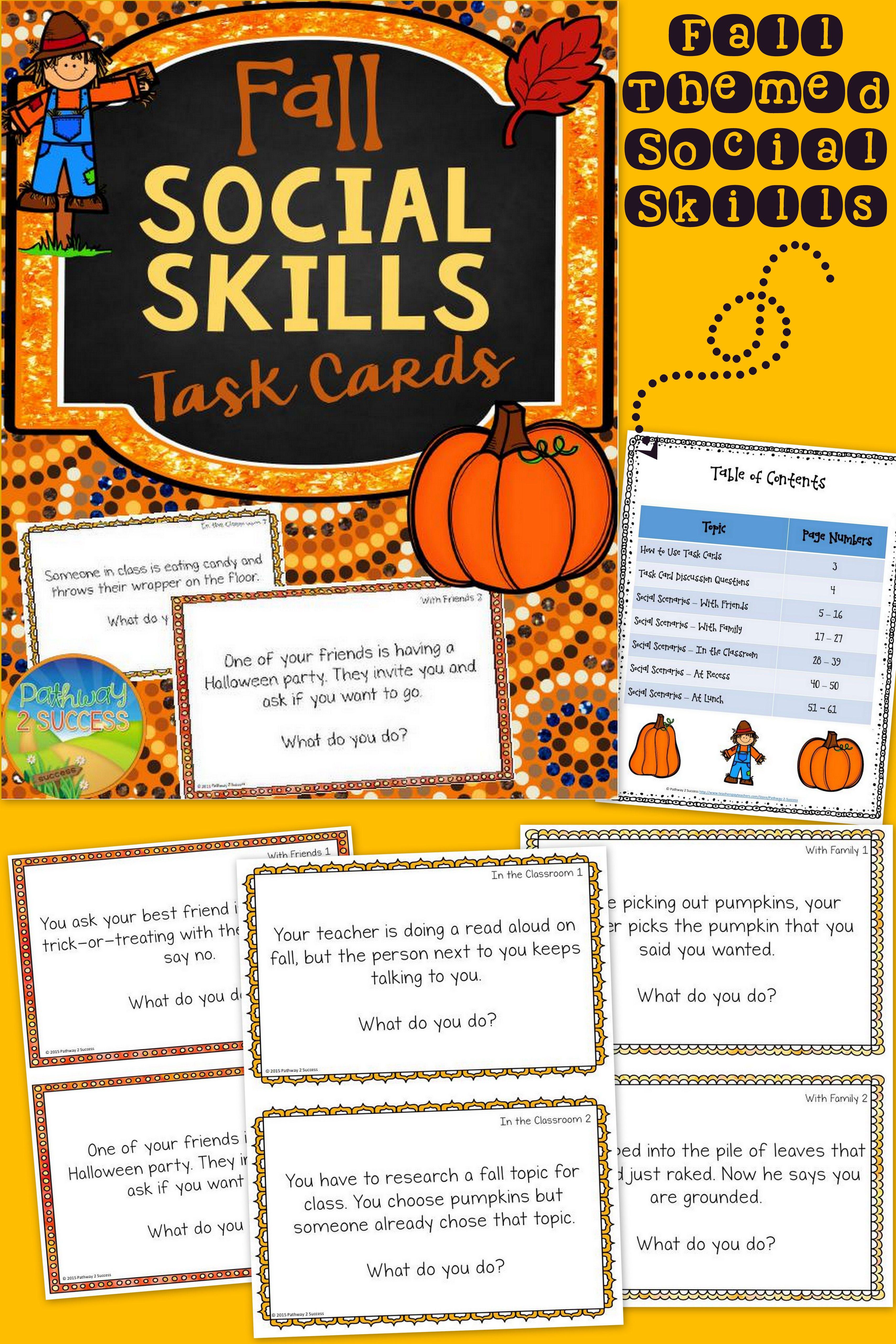 Fall Social Skills Task Cards
