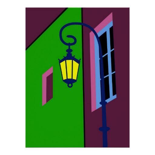 La Bocha, street lamp, screen print, Tango