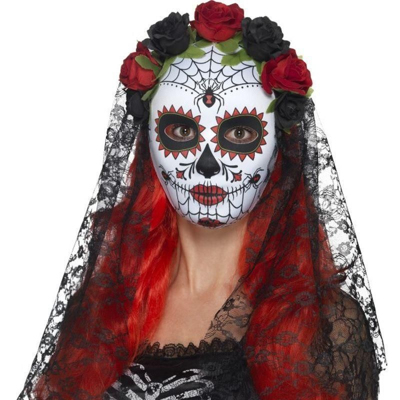 Adults Womens Mexican Day Of The Dead Senorita Fancy Dress Mask /& Veil Accessory