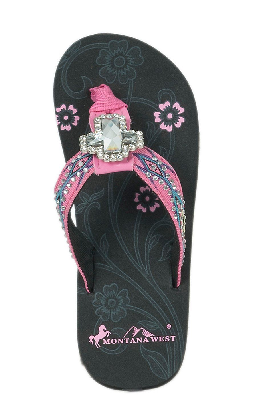 2c73455d3c15fd Montana West Girl s Youth Black with Pink Aztec Strap with Rhinestones   Cross  Concho Flip Flops