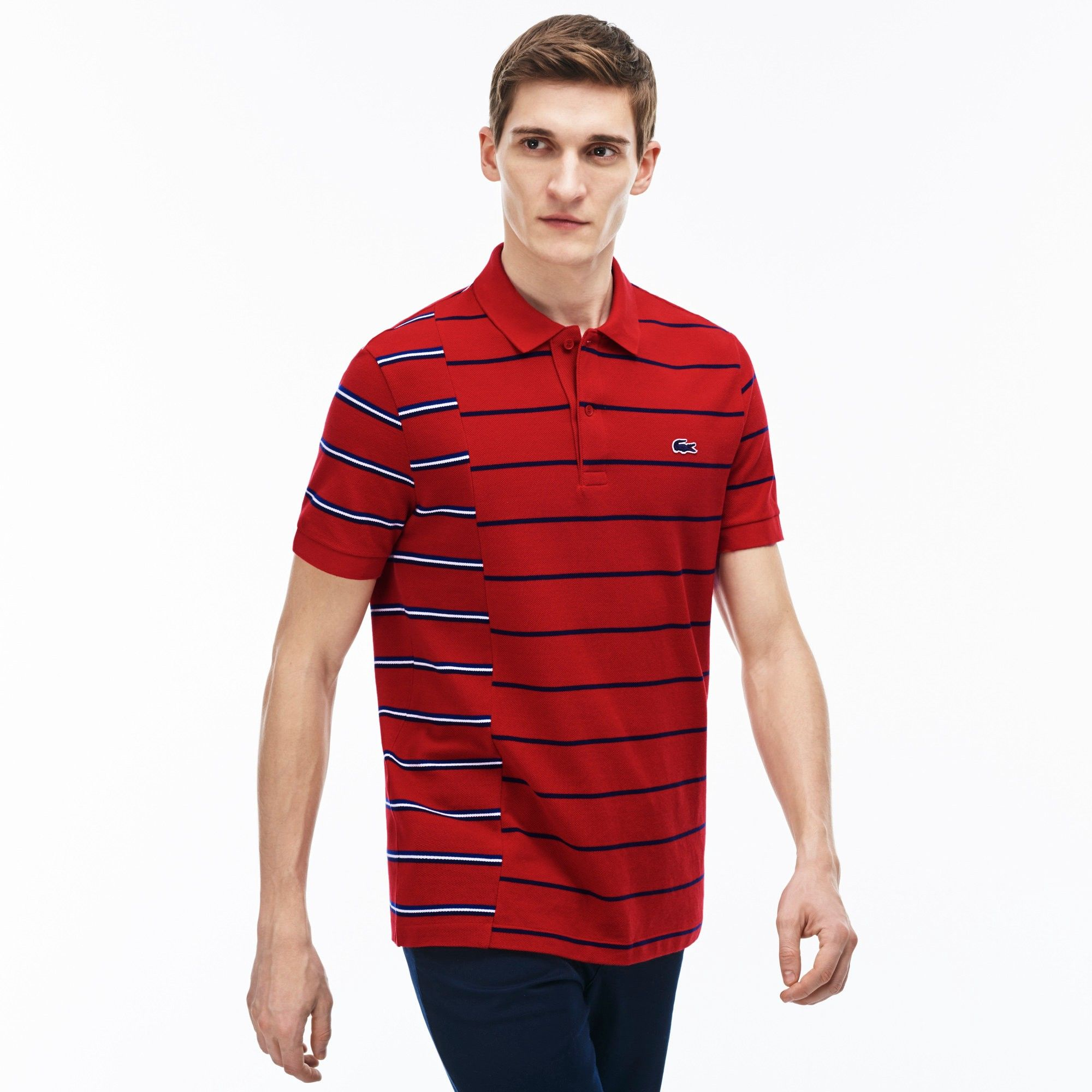 8c87b0355 LACOSTE Men's Made in France Regular Fit Cotton Piqué Polo Shirt -  red/ship-inkwell-white. #lacoste #cloth #