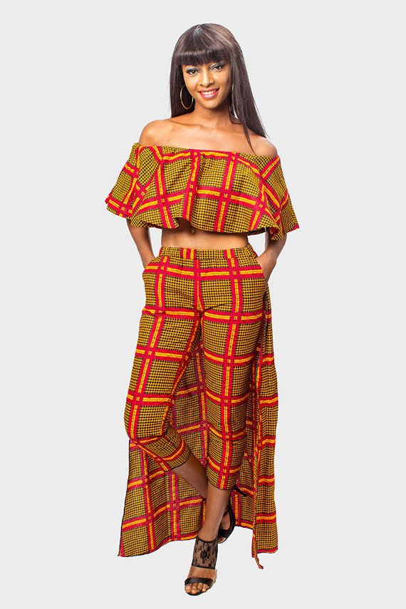 4a127e1c394 Ankara Off Shoulder Crop Top and Cape Pants