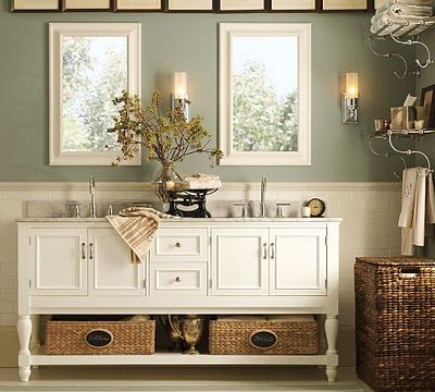 Kids Bathroom Vanity Use White Kitchen Cabinet To Make One But Put It Up On Spindles Legs Like Th Green Bathroom Colors Pottery Barn Bathroom Green Bathroom