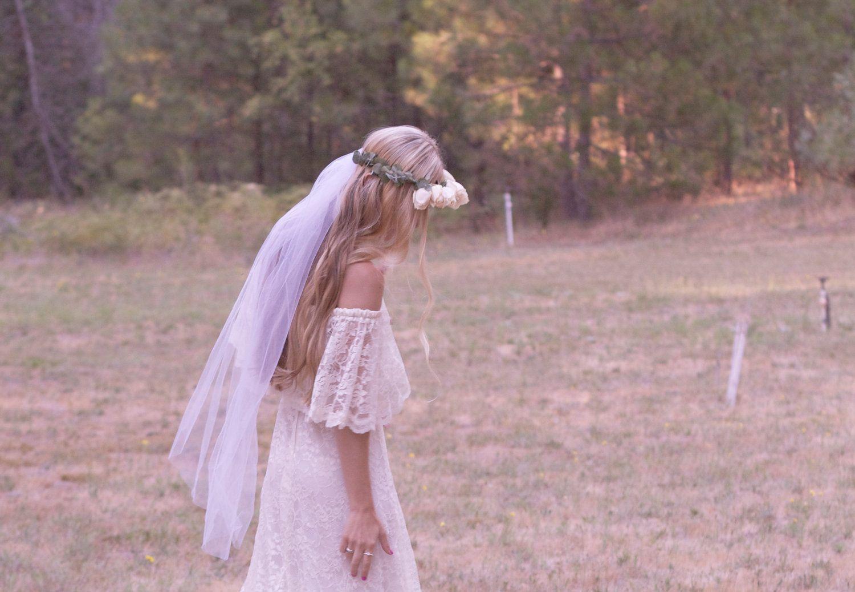 Off the shoulder bohemian wedding dress  Bohemian Wedding Dress Off The Shoulder Lace Ivory s Hippie