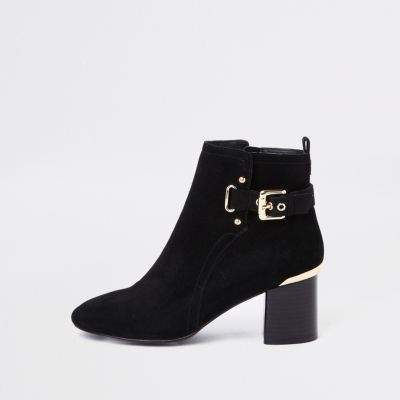 river island black patent glitter chunky ankle boots