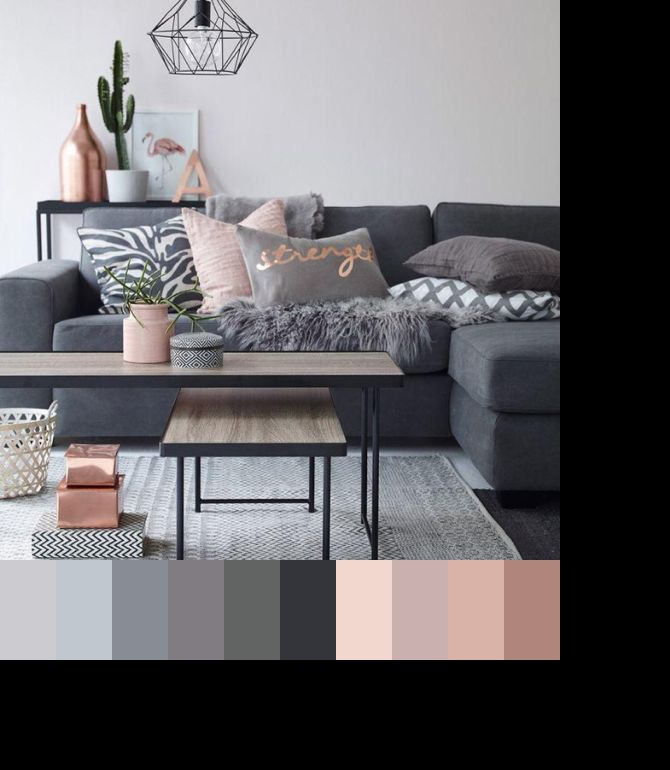 Grey and blush home decor Pinterest Gray, Living rooms and Room