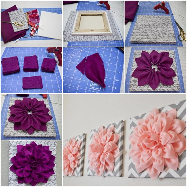 Diy Beautiful 3d Felt Dahlia Flower Wall Art Diy Wall Art Wall Art Tutorial Flower Wall Art
