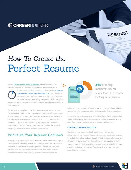 Guide How To Create The Perfect Resume  Careerbuilder  Careers