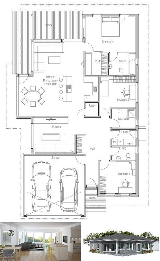 Modern House Plan to narrow lot House Plan from ConceptHomecom