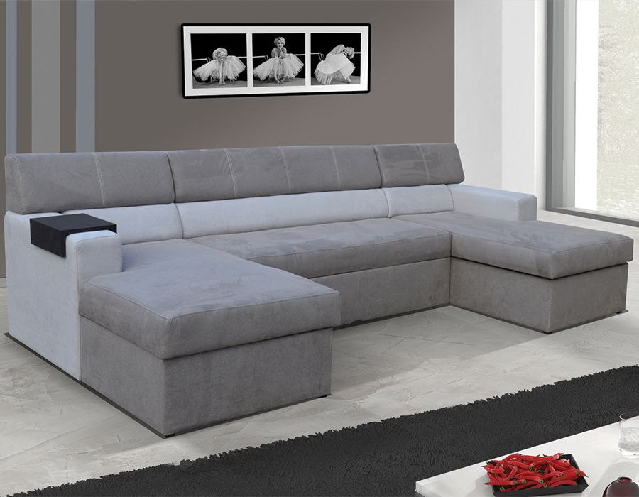 canap d 39 angle panoramique double rangement avec couchage. Black Bedroom Furniture Sets. Home Design Ideas