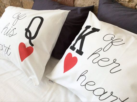King Queen Of My Her His Heart Couple Pillowcases Personalized Wedding Anniversary Engagement Bridal Shower Gift For Him Her Couples Gifts Couple Pillowcase Queen Gifts King Queen