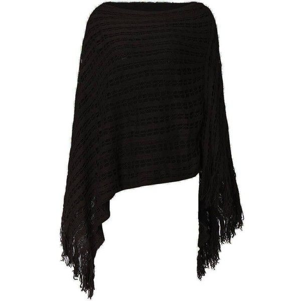 Women Solid Color Hollow Out Tassel Poncho Cloak Sweater ❤ liked on Polyvore featuring poncho