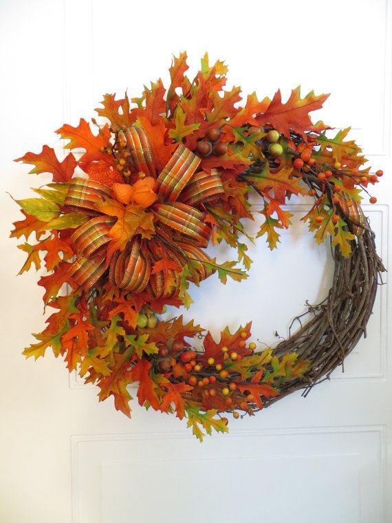 Fall Wreath Front Door Wreath Autumn Leaves Wreath by Dazzlement