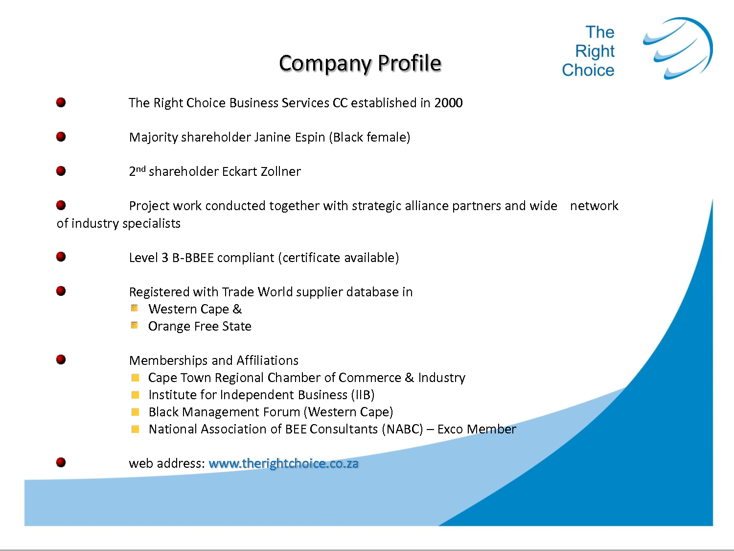 Business profile example.
