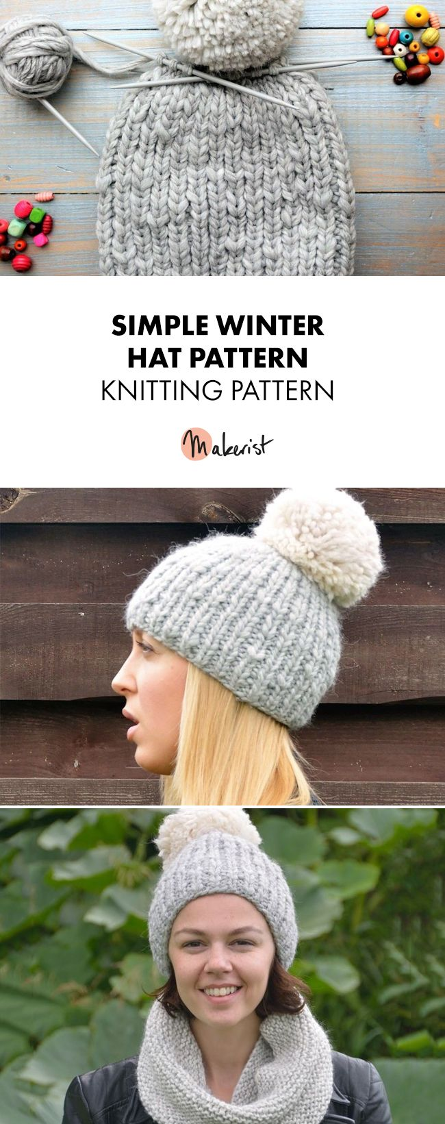 Simple Hat Pattern | Knitting wool, Knit patterns and Patterns