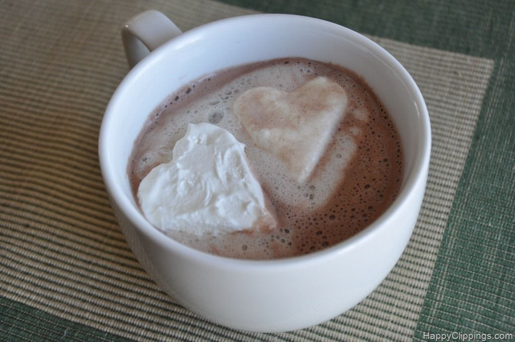 Frozen whipped cream shapes for hot chocolate.