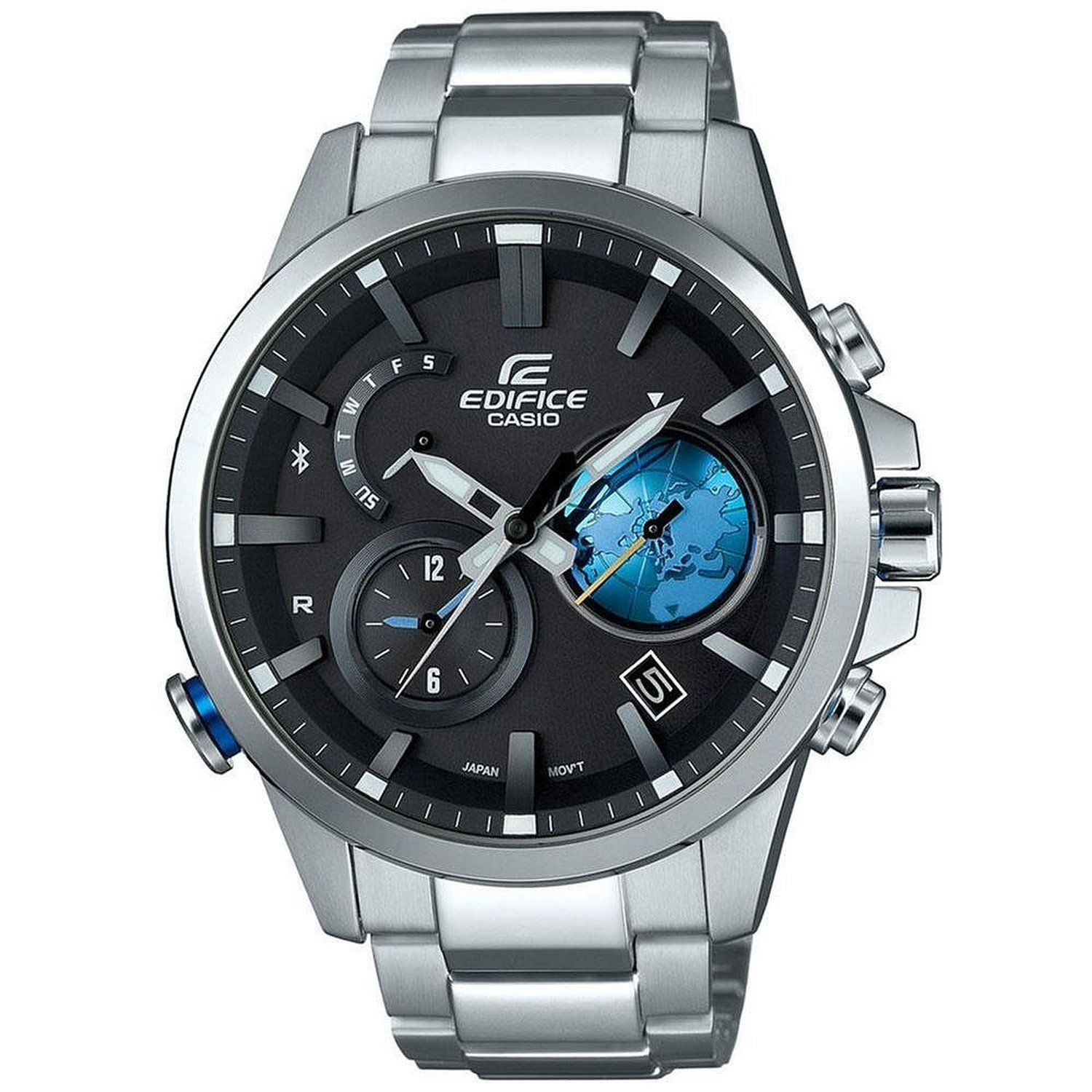 Amazon.com  Casio Edifice EQB600D-1A2 Bluetooth Watch w  3-D Black Globe  Dial Stainless Steel  Casio - Edifice  Watches 1280170583f