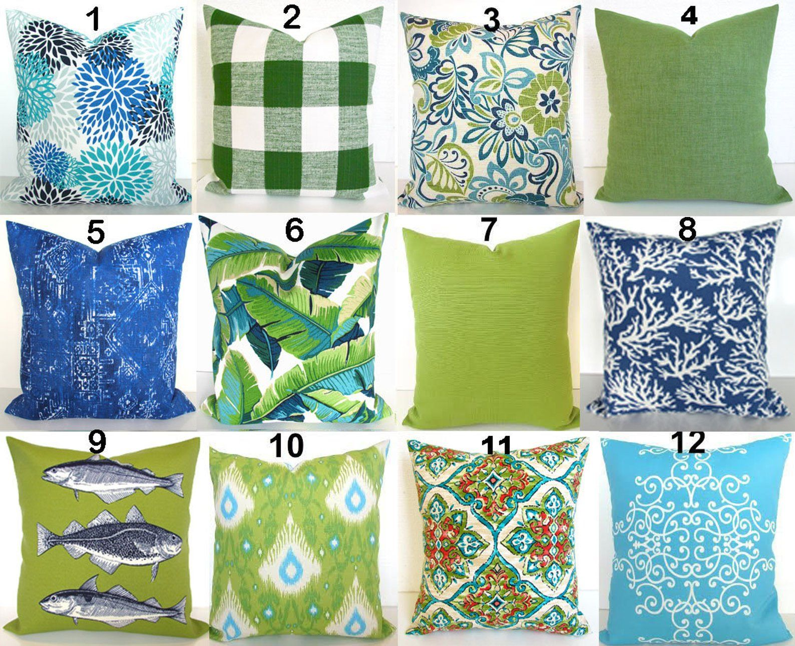 Green Outdoor Pillows Lime Green Pillow Blue Outdoor Throw Etsy