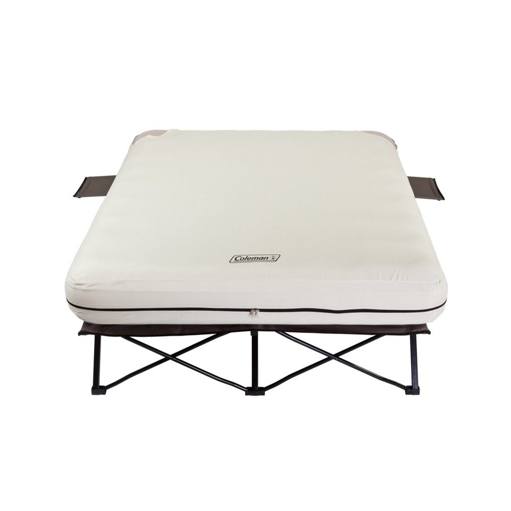 Coleman Inflatable Queen Airbed And Folding Cot With 2 Side Tables And 4d Battery Pump Off White Adult Unisex Beig Air Mattress Camping Air Bed Camping Bed