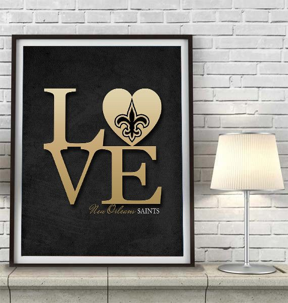 New Orleans Saints Football Love Art Print Sports Wall Decor Man Cave Gift For Him Unframed