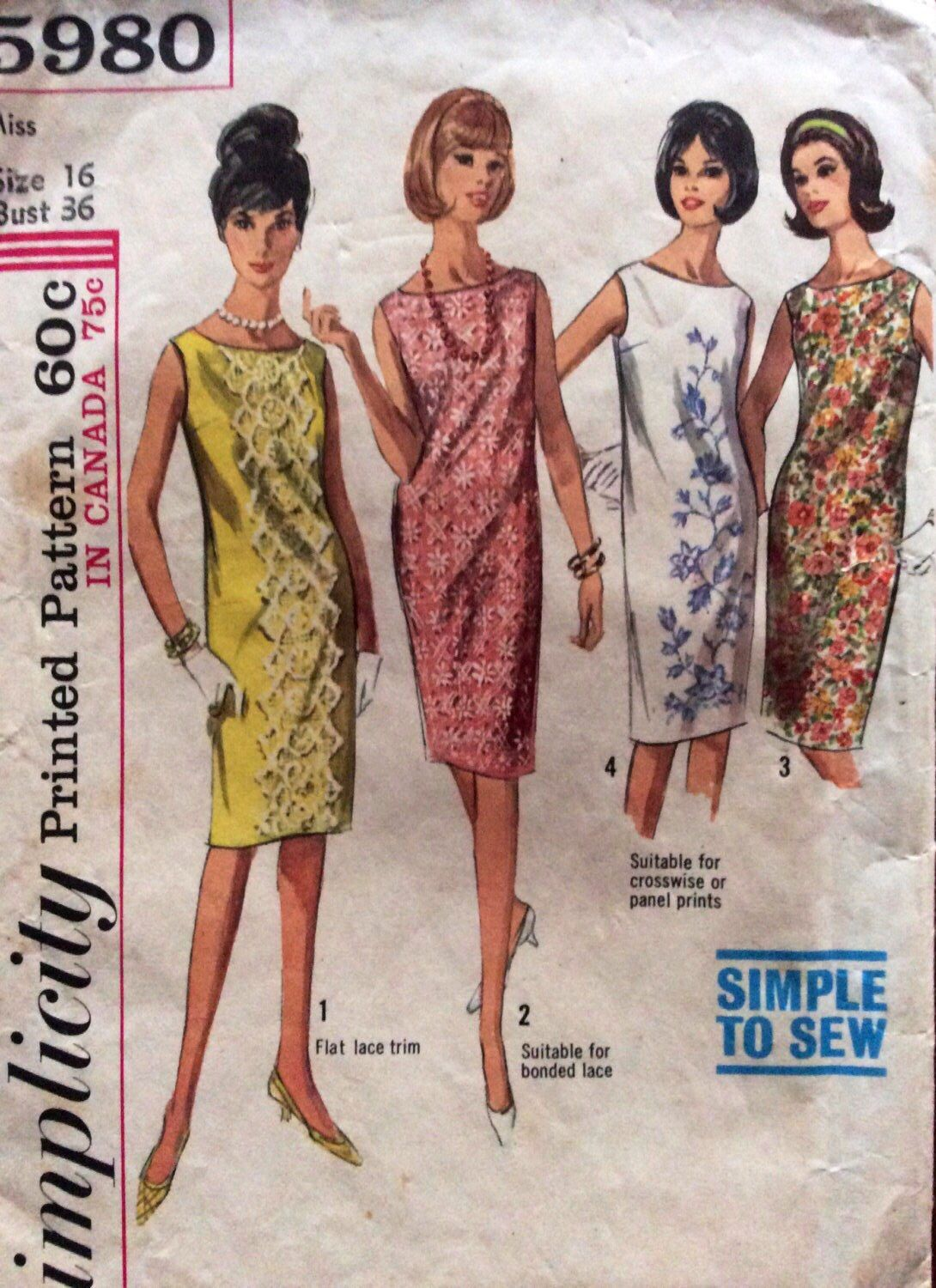 1960s Easy Shift Dress Simplicity 5980 Vintage Sewing Pattern Bust 36 Waist 28 Hip 38 Retro Simplicity Patterns Dresses Vintage Shift Dress Shift Dress Pattern [ 1500 x 1090 Pixel ]