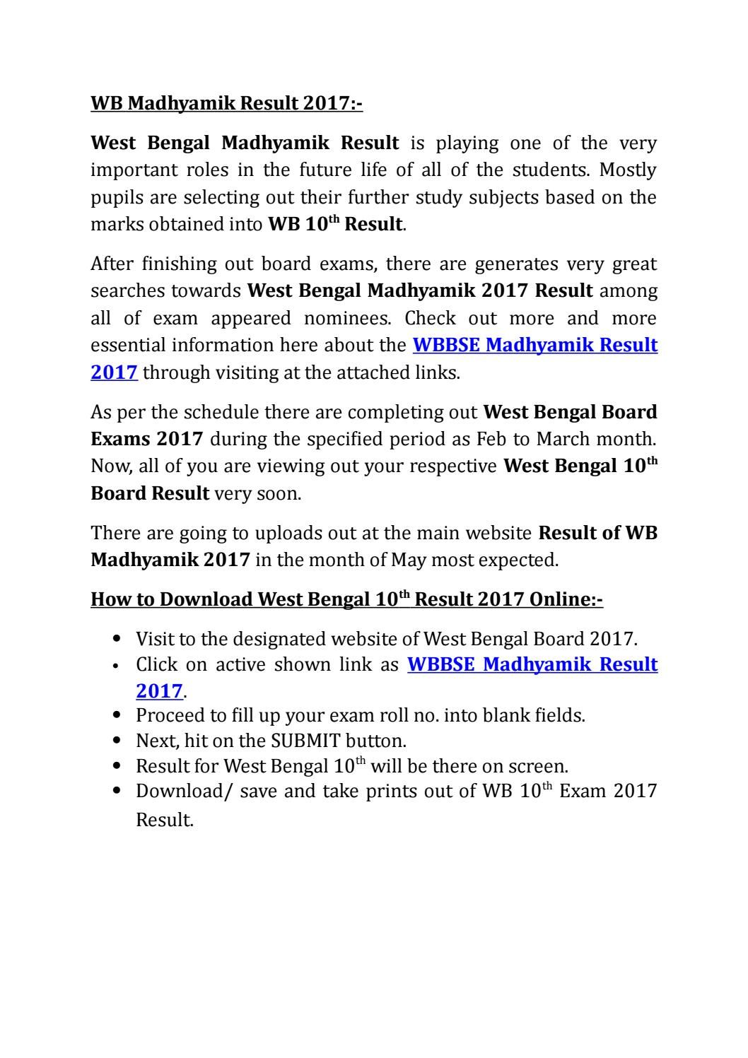 WB Madhyamik Result 2017 | GovernmentJobs | Board exam, West bengal