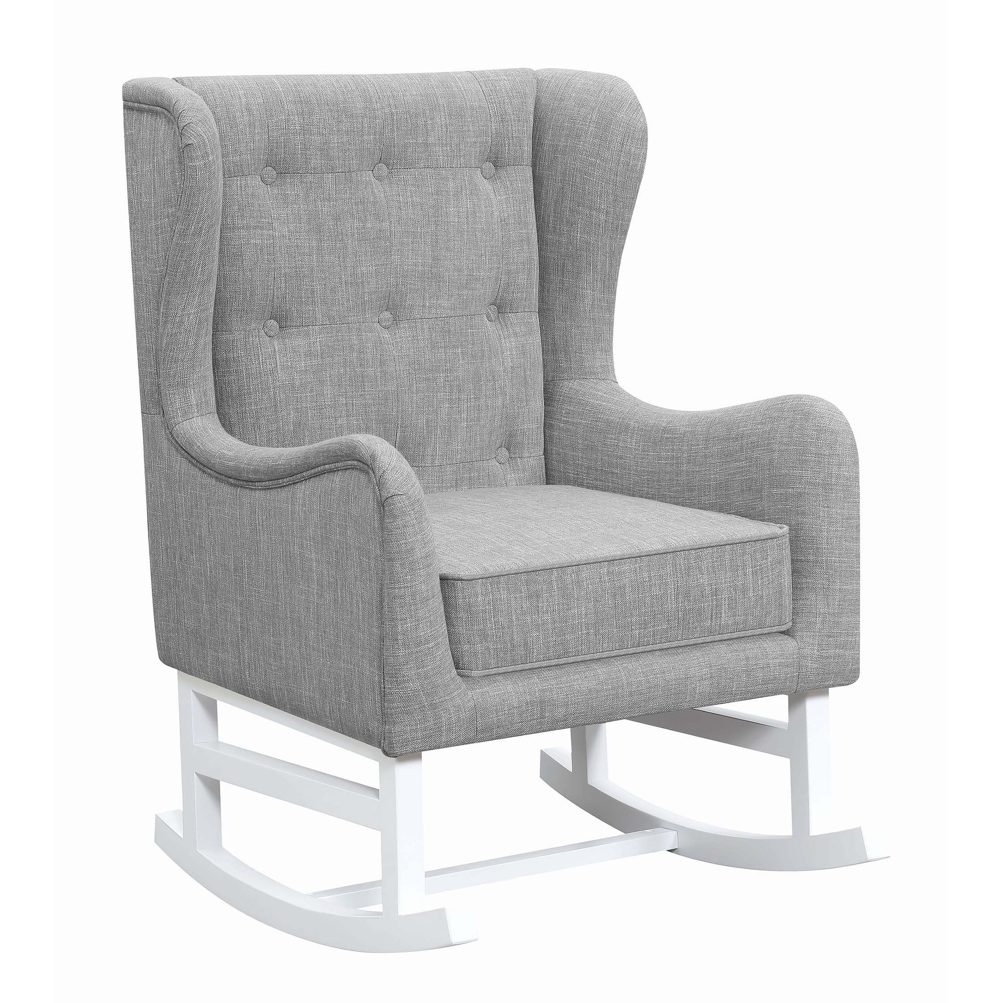 Magnificent Coaster Natalia Upholstered Rocking Chair Grey Gray Fabric Machost Co Dining Chair Design Ideas Machostcouk