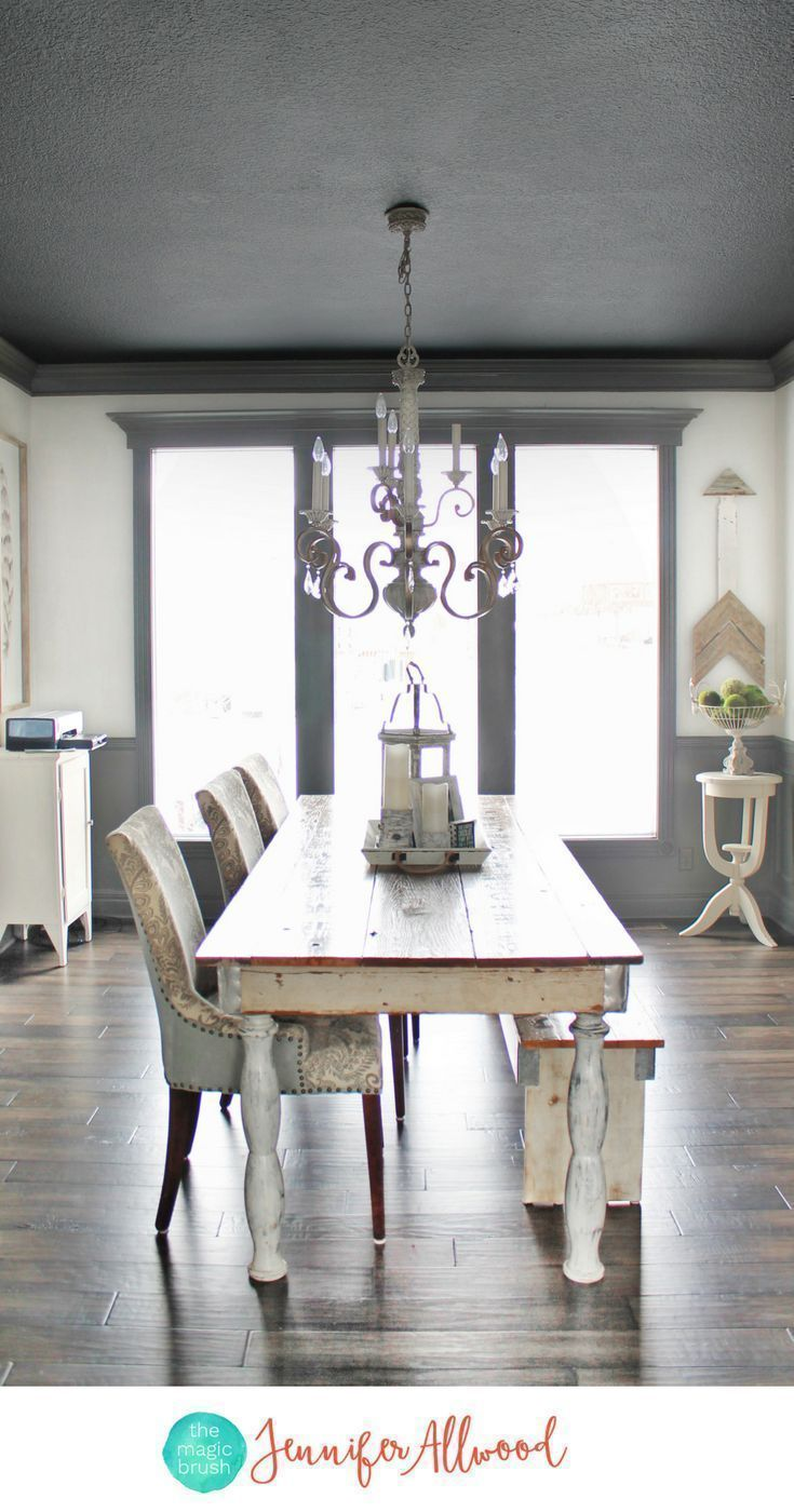 How to's : Painted Black Ceiling in the Dining Room | Ceiling Painting Tips | Magic Brush | Painted Ceiling Ideas | Tricorn Black Sherwin Williams #homedecor #painting #diy #ceiling #diyhomedecor