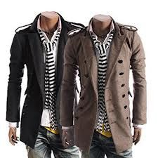Mens raincoat along with stripped scarf.