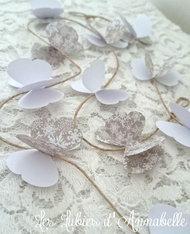 guirlande de papillon en papier couleurs blanc et taupe d coration de tables table decoration. Black Bedroom Furniture Sets. Home Design Ideas