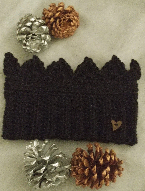 Crown Crochet Earwarmer in Black #crownscrocheted