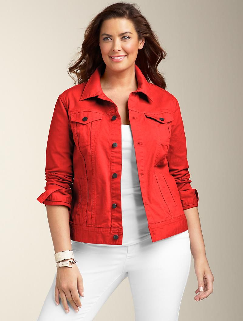 471c3e49be1 Colored Denim Jacket - I love the Red!!