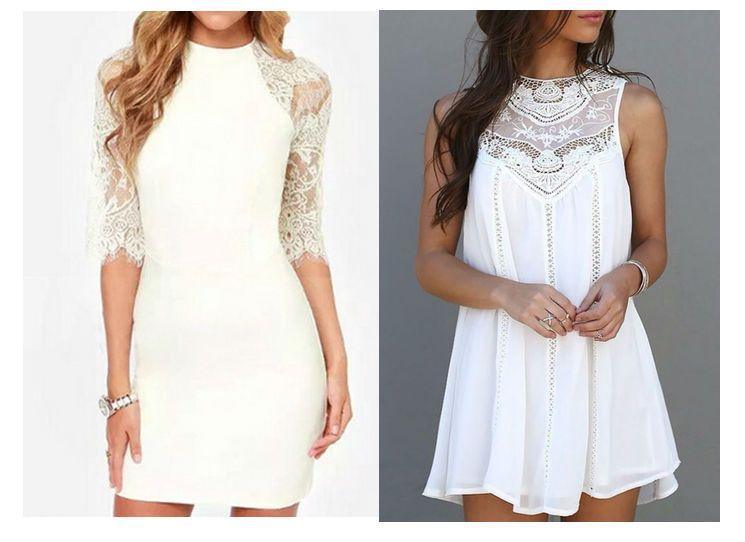 Ein weißes Kleid kombinieren | Einfaches weißes Kleid, Weißes kleid ...