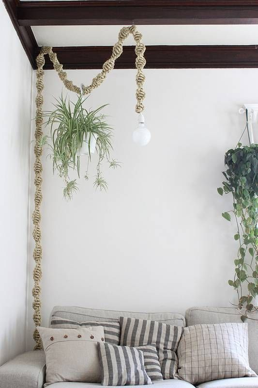 How To Hide Cords And Wires Domino Macrame Diy Macrame Macrame Plant Hangers