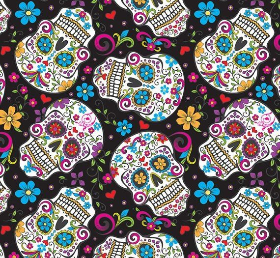 Skulls Sugar Day Of The Dead Flowers On Black Background Cotton Fabric Fat Quarter